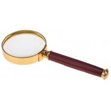 Золотая лупа с коричневой ручкой